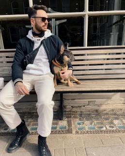 Men's fashion shot with frenhcie dog.